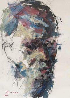 """Self-Portrait in Profile"" oil on canvas by Masri"