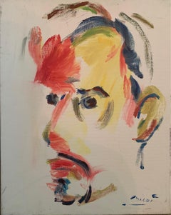 'Self Portrait in Red and Yellow' oil on canvas by Masri