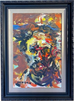 """Self Portrait In Red Yellow and Orange"" oil on canvas 47"" x 35.5"" framed"