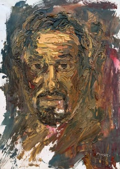 """""""Self Portrait in Yellow"""" Oil on Canvas 20""""x28"""" by Masri"""