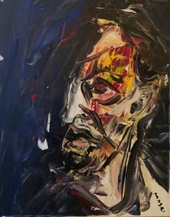 """Self-Portrait with Yellow and Red on a blue background"" Oil on canvas Original"