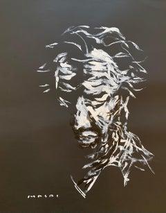 """White on Black Self-Portrait"" Oil on paper Original piece by Masri"