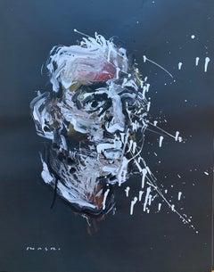 """White & Red Self-Portrait"" Oil on paper Original piece by Masri"