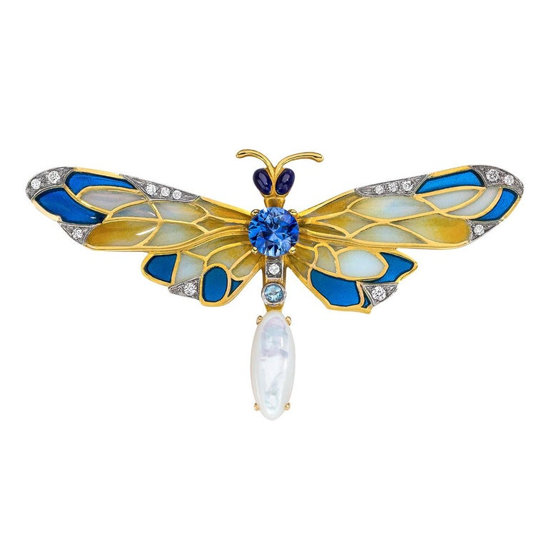 Art Nouveau Masriera 18 Karat Gold Enamel, Diamond and Precious Stone Dragonfly Brooch For Sale