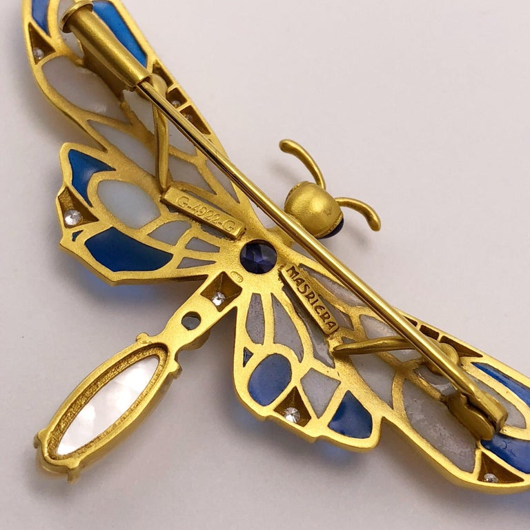 Masriera 18 Karat Gold Enamel, Diamond and Precious Stone Dragonfly Brooch In New Condition For Sale In New York, NY