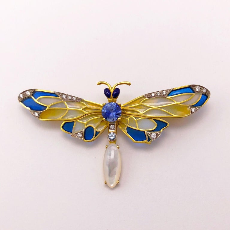 Women's or Men's Masriera 18 Karat Gold Enamel, Diamond and Precious Stone Dragonfly Brooch For Sale