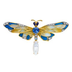 Masriera 18 Karat Gold Enamel, Diamond and Precious Stone Dragonfly Brooch