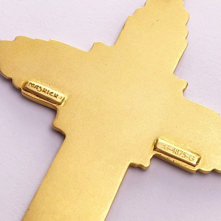 Art Nouveau Masriera 18 Karat Yellow Gold and Enamel Cross For Sale
