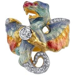 Masriera 18 Karat Gold, Champlevé Enamel Dragon Ring with .38 Carat Diamond