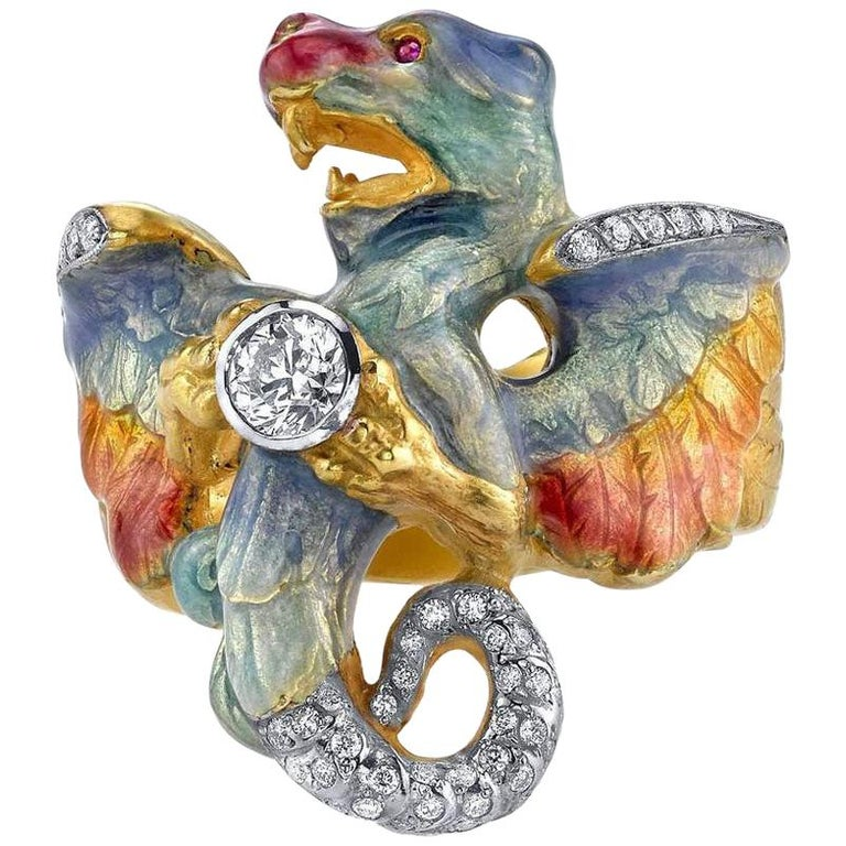 Masriera 18 Karat Gold, Champlevé Enamel Dragon Ring with .38 Carat Diamond For Sale