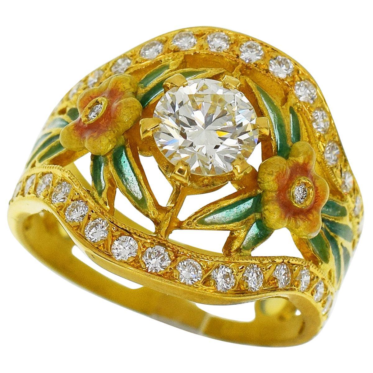 Masriera 18 Karat Yellow Gold Diamond Enamel Ring US 6