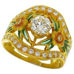 Masriera 18 Karat Yellow Gold Diamond Enamel Ring
