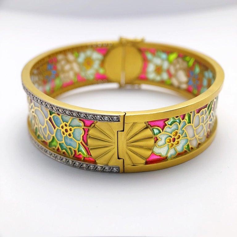 Art Nouveau Masriera 18KT Gold & Plique-a-Jour Enamel Bangle Bracelet with .94Ct. Diamonds For Sale