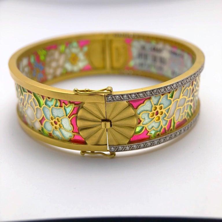 Round Cut Masriera 18KT Gold & Plique-a-Jour Enamel Bangle Bracelet with .94Ct. Diamonds For Sale