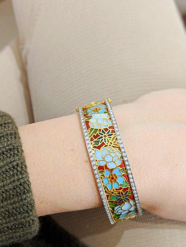 Women's or Men's Masriera 18KT Gold & Plique-a-Jour Enamel Bangle Bracelet with .94Ct. Diamonds For Sale