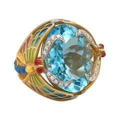Masriera 18kt Yellow Gold Dragonfly Ring 20.66ct Blue Topaz, Enamel & Diamonds