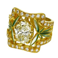 Masriera 2.29 Carat Diamond Cloisonne 18 Karat Yellow Gold Ring US 6 3/4