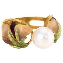 Masriera Cultured Pearl Enamel Ring Estate 18 Karat Gold Fine Jewelry, Spain