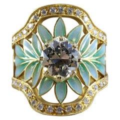 Masriera Diamond Enamel Plique-a-Jour Gold Engagement Ring