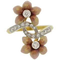 Masriera Diamond Enameled Gold Flower Ring