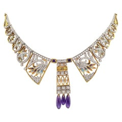 Masriera Estate Plique A Jour Diamond Amethyst Yellow Gold Necklace