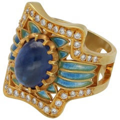 Masriera Modernist Blue Sapphire Diamonds Fired Enamel Yellow Gold Fashion Ring