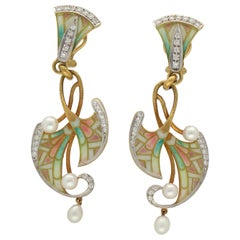 Masriera Modernist Diamonds Akoya Pearls Fired Enamel Gold Drop Earrings