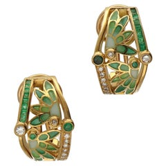 Masriera Modernist Diamonds Emeralds Fired Enamel Matte Gold Earrings