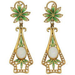 Masriera Modernist Opals Diamonds Fired Enamel Matte Gold Drop Earrings