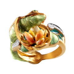 Masriera Plique-a-Jour and Champlevé Enamel Frog Motif Ring with Diamonds