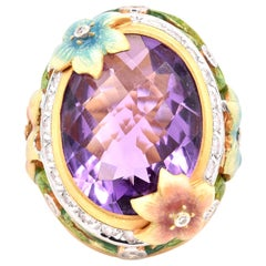 "Masriera ""Plique a Jour"" Enamel Amethyst and Diamond Ring"