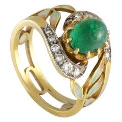 Masriera Vintage 18 Karat Yellow Gold Diamond and Emerald Flower Band Ring