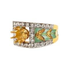Masriera y Carreras 18 Karat Diamond and Leaf Enamel Ring Setting