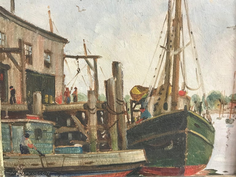 A small new England harbor scene painting by artist H. C. Wolcott (b.1898-d.1977). Titled on the back Fishing Boats, Gloucester Mass.