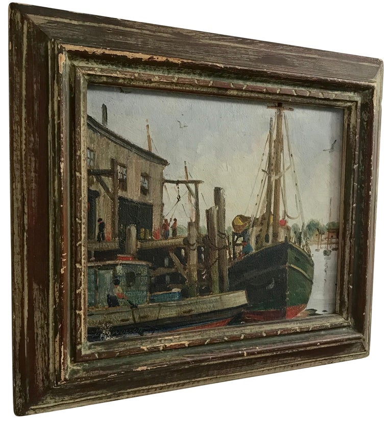 American Massachusetts Harbor Fishing Boats Painting by H. C. Wolcott, 20th Century For Sale