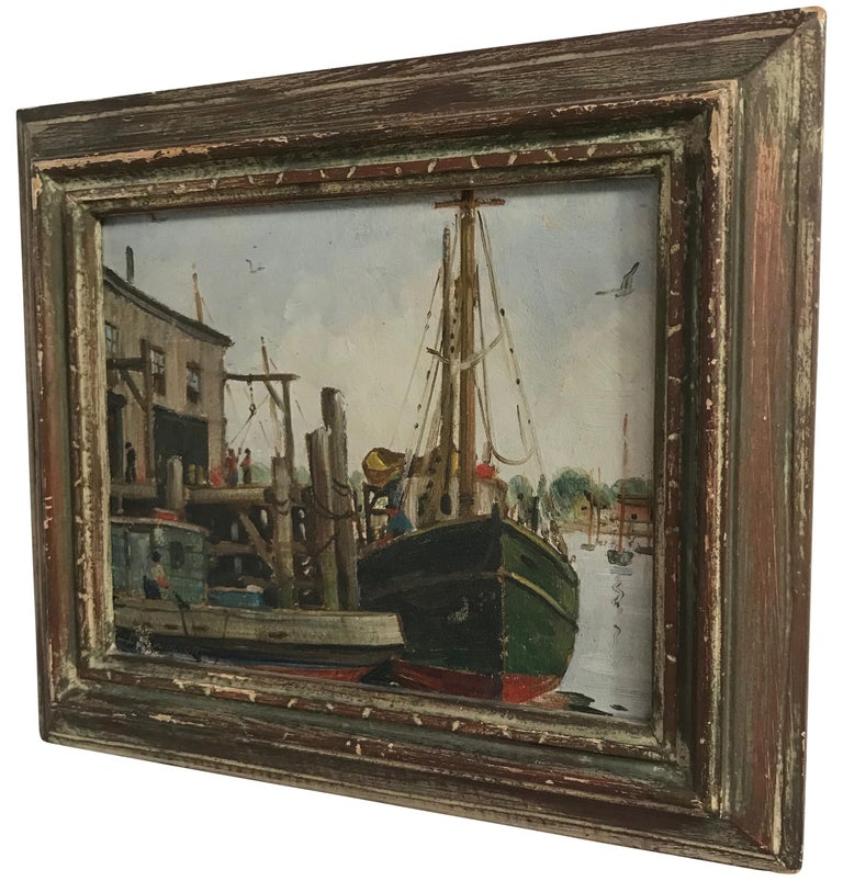 Hand-Painted Massachusetts Harbor Fishing Boats Painting by H. C. Wolcott, 20th Century For Sale