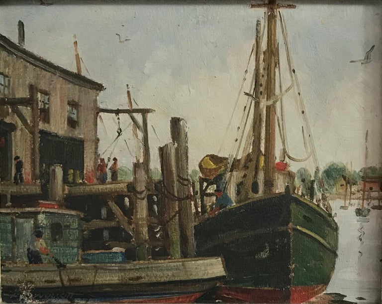 Massachusetts Harbor Fishing Boats Painting by H. C. Wolcott, 20th Century For Sale 2