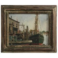 Massachusetts Harbor Fishing Boats Painting by H. C. Wolcott, 20th Century