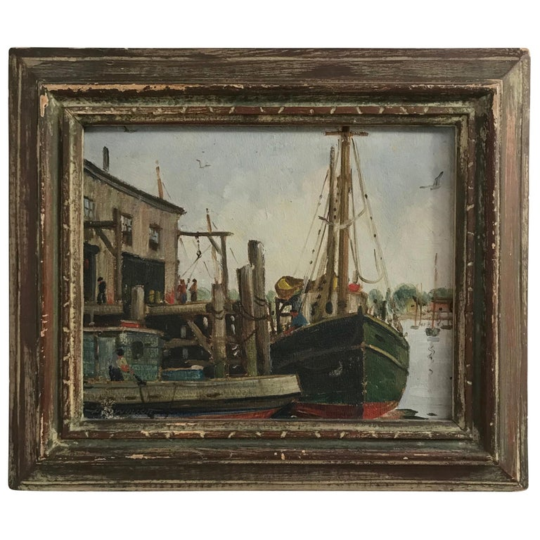 Massachusetts Harbor Fishing Boats Painting by H. C. Wolcott, 20th Century For Sale