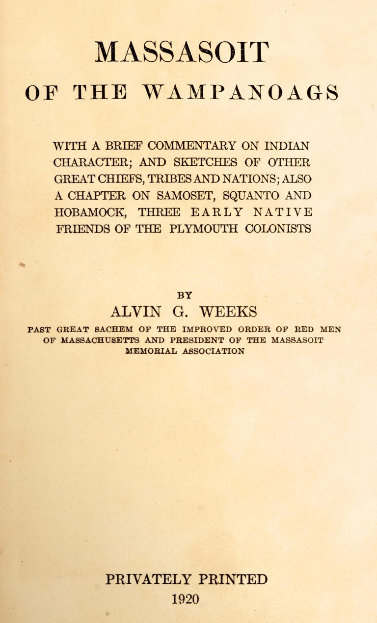 Early 20th Century Massasoit of the Wampanoags by Alvin G. Weeks For Sale