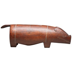 Massim Ceremonial Pig with Inlaid Shell, Trobiand Islands, Papua New Guinea