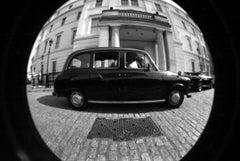 Black Cab- Massimiliano Muner B&W Fish Eye Lens Photo