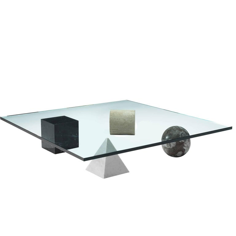 Massimo & Lella Vignelli 'Metafora' Coffee Table in Marble and Travertine