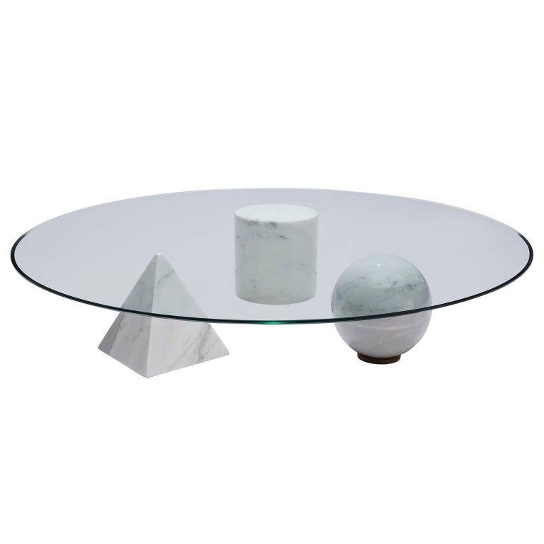 Massimo & Lella Vignelli Round 'Metafora' Coffee Table in Marble and Glass