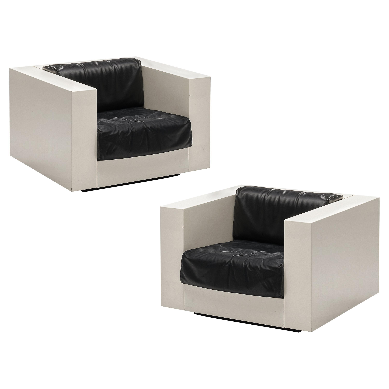 Massimo and Lella Vignelli for Poltronova Pair of White 'Saratoga' Lounge Chairs