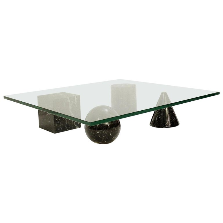 Massimo and Lella Vignelli 'Metaphora' Coffee Table in Black Marble and Glass For Sale