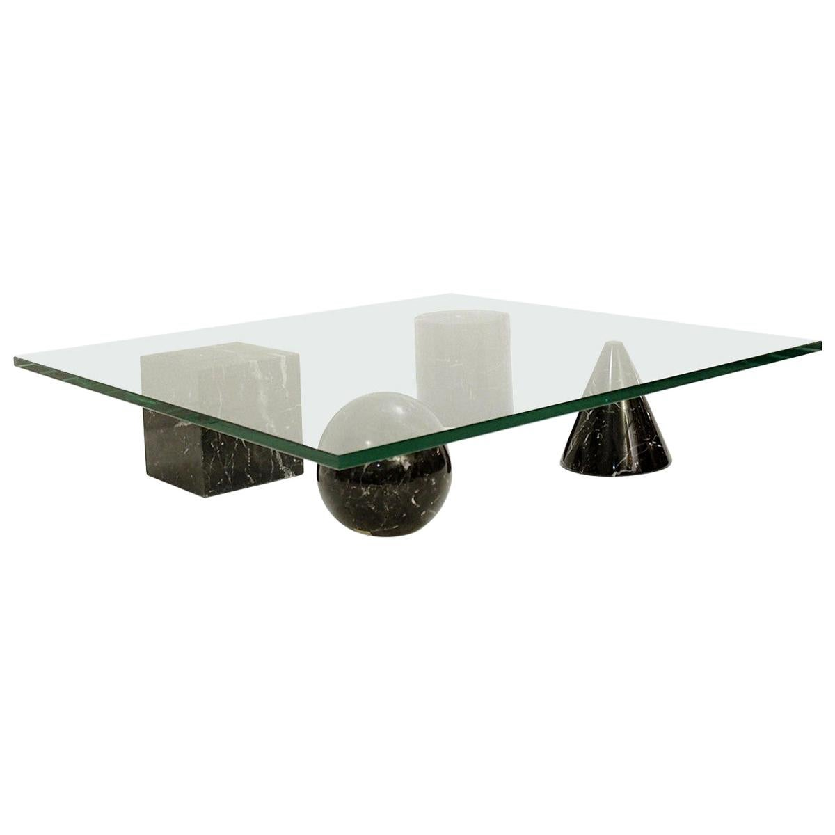 Massimo and Lella Vignelli 'Metaphora' Coffee Table in Black Marble and Glass
