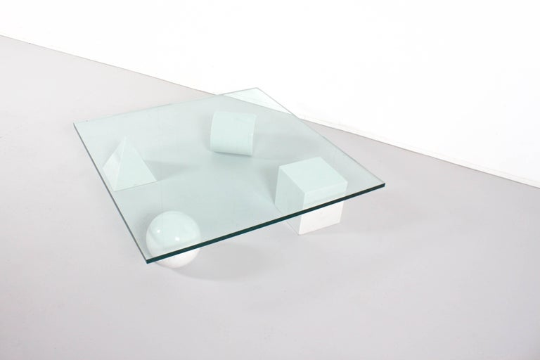 Italian Massimo and Lella Vignelli 'Metaphora' Coffee Table in Carrara Marble and Glass For Sale