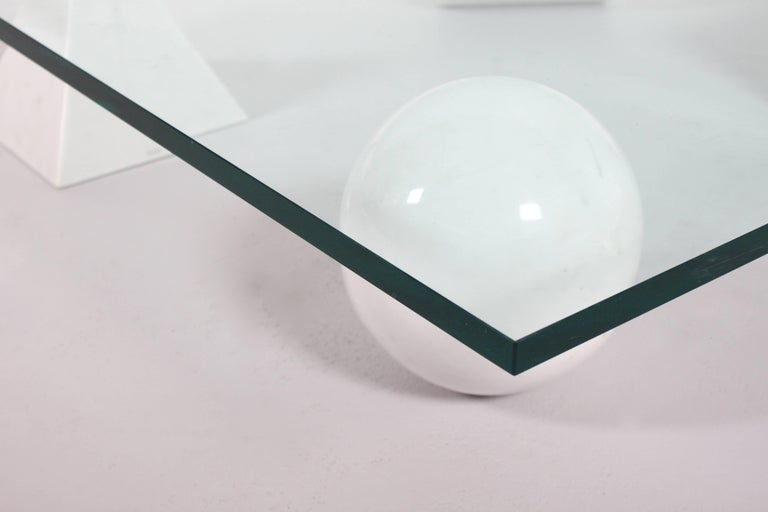20th Century Massimo and Lella Vignelli 'Metaphora' Coffee Table in Carrara Marble and Glass For Sale