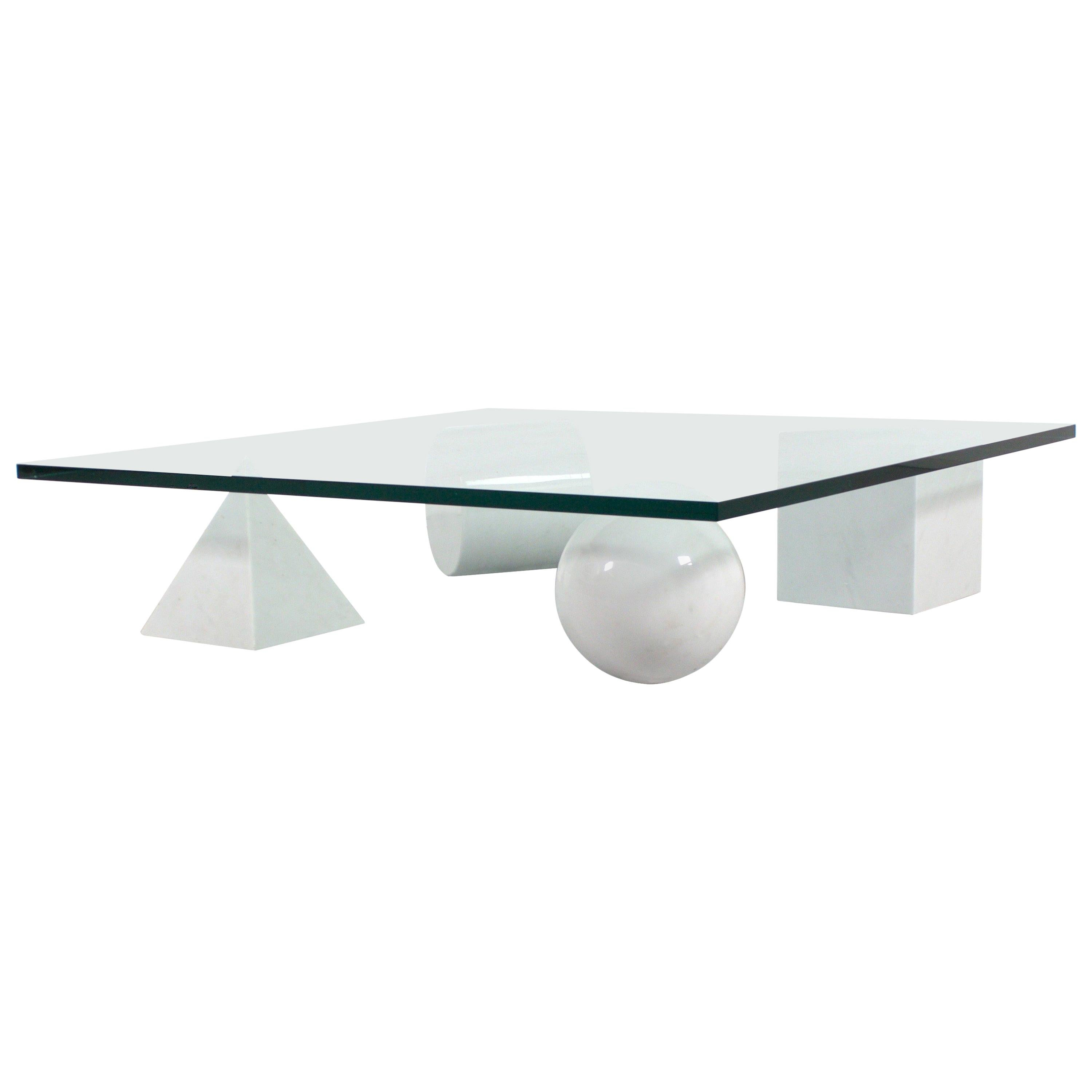 Massimo and Lella Vignelli 'Metaphora' Coffee Table in Carrara Marble and Glass
